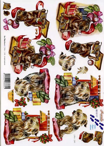 3D Bogen Weihnachtshündchen - Format A4,  Tiere - Hunde,  Le Suh,  3D Bogen,  Weihnachtshündchen
