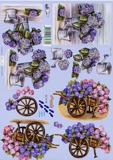 3D Bogen Hortensie + Karre - Format A4,  Sonstiges -  Sonstiges,  Le Suh,  3D Bogen,  Hortensie + Karre,  Gießkanne