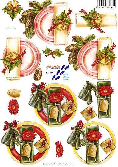 3D Bogen Gedeck - Format A4,  Früchte - Zapfen,  Weihnachten - Baumschmuck,  3D Bogen