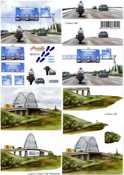 3D Bogen 3 - D Schritte - Bogen - Format A4,  Sonstiges -  Sonstiges,  Le Suh,  3D Bogen,  Autobahn,  Brücke