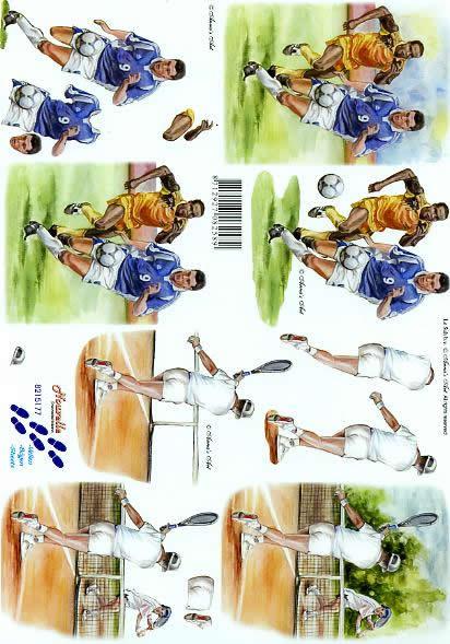 3D Bogen Fußball + Tennis - Format A4