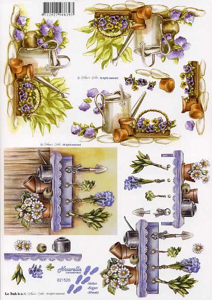3D Bogen Gartenwerkzeug - Format A4,  Blumen -  Sonstige,  Le Suh,  3D Bogen,  Gartenwerkzeug,  Veilchen,  Gießkanne