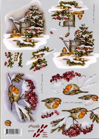 3D Bogen Rotkehlchen - Format A4,  Früchte -  Sonstige,  Le Suh,  3D Bogen,  Rotkehlchen,  Gießkanne,  Vogel auf Zweig