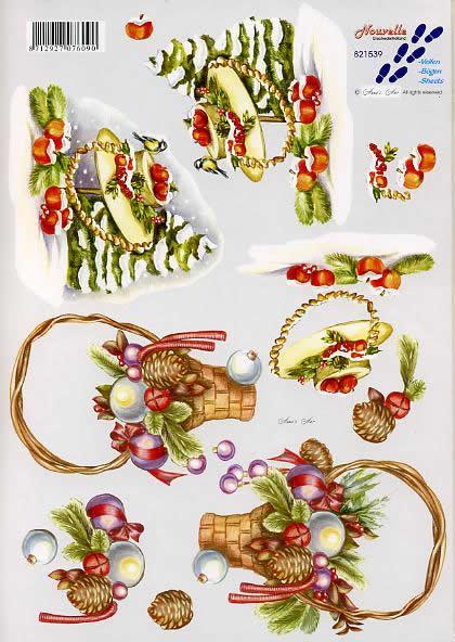 3D Bogen Weihnachtskorb + Hut - Format A4,  Tiere - Vögel,  Le Suh,  3D Bogen,  Weihnachtskorb + Hut,  Weihnachtsdeko