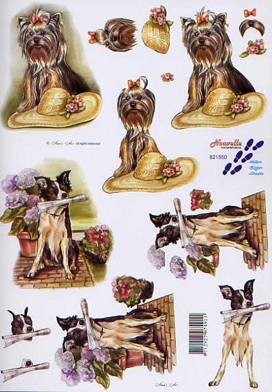 3D Bogen Hündchen - Format A4,  Tiere - Hunde,  Le Suh,  3D Bogen,  Hund mit Hut,  Hund mit Zeitung