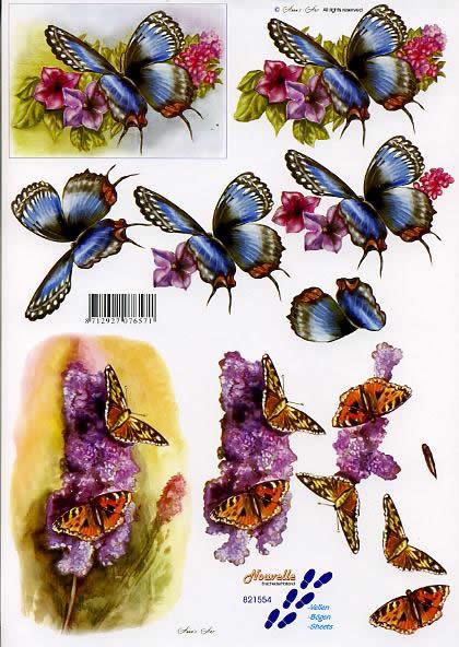 3D Bogen Schmetterling - Format A4,  Blumen -  Sonstige,  Le Suh,  3D Bogen,  Schmetterlinge