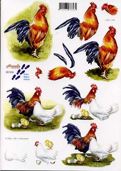 3D Bogen Hahn + Huhn - Format A4,  Tiere - Huhn / Hahn,  Le Suh,  3D Bogen,  Hahn + Huhn,  Bauernhof