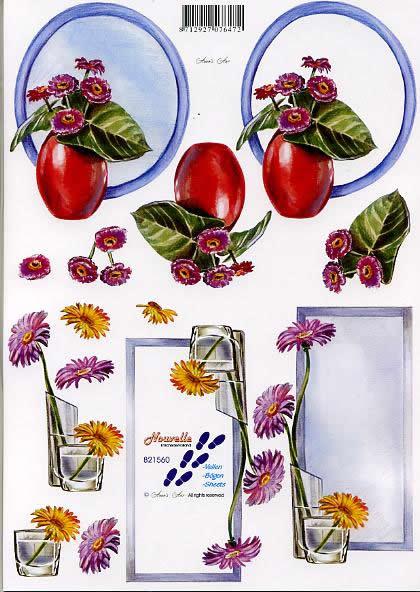3D Bogen Blume + Spiegel - Format A4,  Blumen -  Sonstige,  Le Suh,  3D Bogen,  Blume + Spiegel,  Gerbarastrauß in der Vase