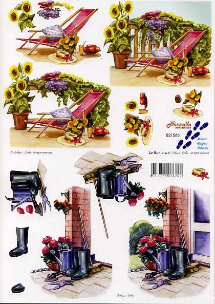 3D Bogen Terasse - Format A4,  Blumen -  Sonstige,  Le Suh,  3D Bogen,  Terasse,  im Garten,  Gummistiefel,  Gießkanne,  Liegestuhl