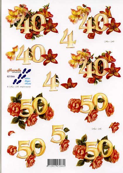 3D Bogen Jubiläum 40 + 50 - Format A4,  Ereignisse -  Sonstige,  Le Suh,  3D Bogen,  Jubiläum,  Geburtstag,  Hochzeitstag
