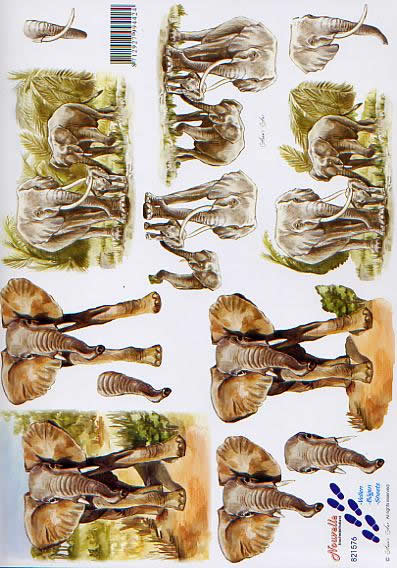 3D Bogen Elefanten - Format A4,  Regionen - Afrika,  Le Suh,  3D Bogen,  Elefanten in der Savanne