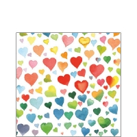 Napkins 25x25 cm - Colourful Hearts Mix