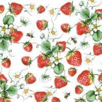Cocktail Servietten  Strawberries All Over White