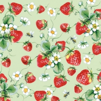 Cocktail napkins  Strawberries All Over Green