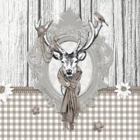 Serviettes de table 33x33 cm - Cerf Taupe décoré