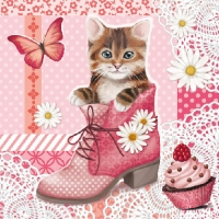 Serviettes lunch Cat In Shoe
