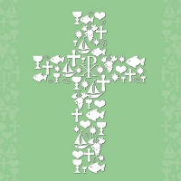 Serviettes lunch Communion Ornaments Green