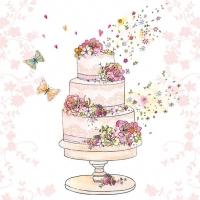 Serviettes lunch Flowered Wedding Cake