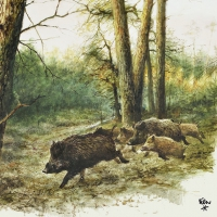 Lunch napkins Wild Boars In The Woods
