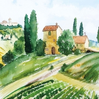 Lunch napkins Tuscany Watercolor