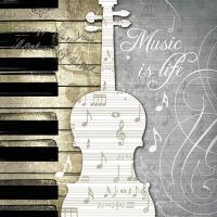 Serviettes de table 33x33 cm - La musique, c´est la vie