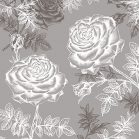 Lunch napkins Etching Roses Grey