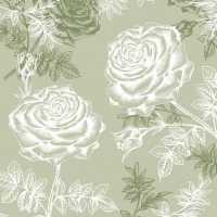Lunch napkins Etching Roses Green