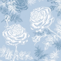 Lunch napkins Etching Roses Blue
