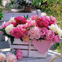 Serviettes lunch Peonies In Basket