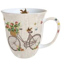 Porzellan-Henkelbecher Robin on Bike