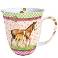 porcelain cup Mug 0.4 L Signed Horses