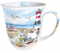 porcelain cup Mug 0.4 L Seals On The Beach