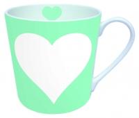 Porzellan-Henkelbecher MUG HEART AQUA