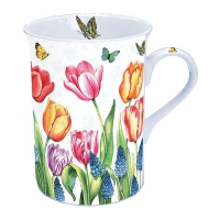 taza de la porcelana Tulips & Muscari