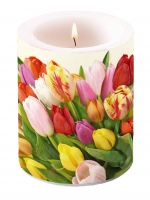 Kerze Colourful Tulips