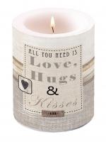 Dekorkerze Love, Hugs & Kisses