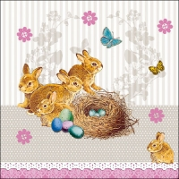 Serviettes lunch BUNNIES NEST TAUPE