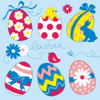 Serviettes lunch EASTER EGGS COLLECTION BLUE