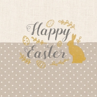 Serviettes lunch Embroidery Easter Taupe