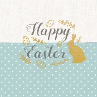 Serviettes lunch Embroidery Easter Blue