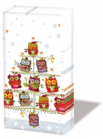 handkerchiefs - Christmas Tree With Owls