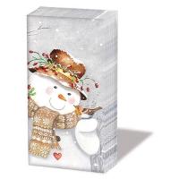 handkerchiefs - Snowman Holding Robin