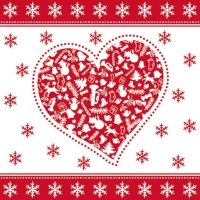 Cocktail napkins CHRISTMAS HEART RED
