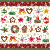 Cocktail napkins CHRISTMAS PARTS RED