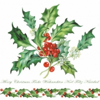 Cocktail napkins HOLLY BRANCH WHITE