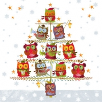 Serviettes cocktail  Christmas Tree With Owls