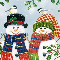 Serviettes cocktail  Snowman Couple