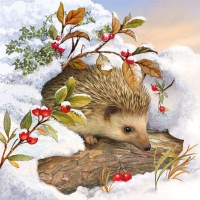 Serviettes cocktail  Hedgehog In Snow