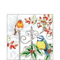 Napkins 25x25 cm - Birds & Holly