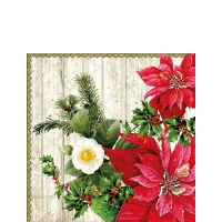 Cocktail napkins Poinsettia On Wood